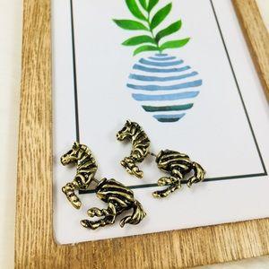 Vintage-style Golden Zebra Animal Earrings